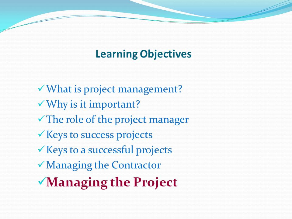 Managing the Project Learning Objectives What is project management