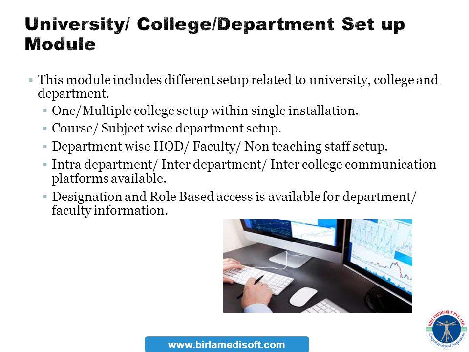 University/ College/Department Set up Module