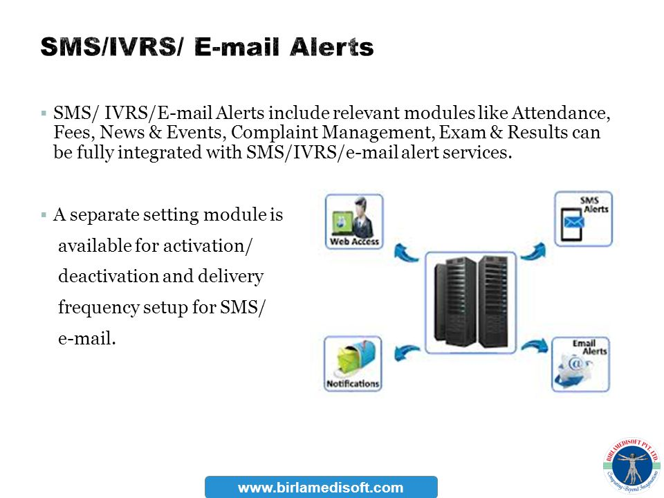 SMS/IVRS/ E-mail Alerts
