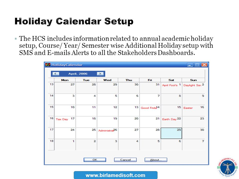 Holiday Calendar Setup
