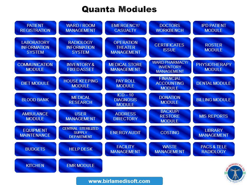 Quanta Modules www.birlamedisoft.com PATIENT REGISTRATION