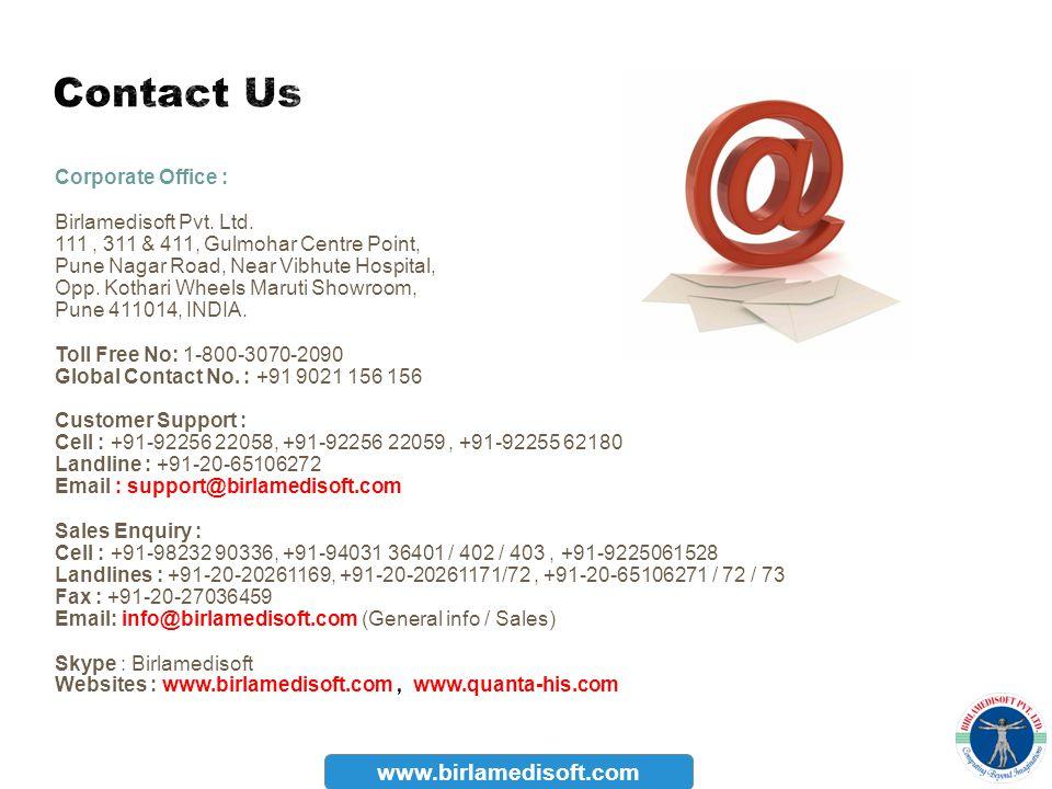 Contact Us www.birlamedisoft.com