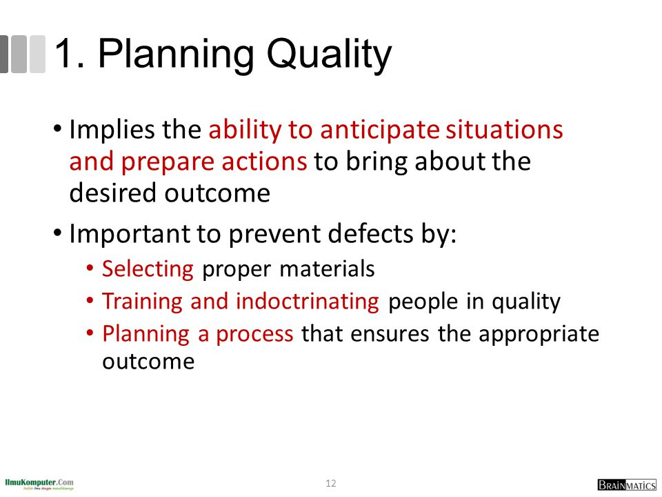 1. Planning Quality Implies the ability to anticipate situations and prepare actions to bring about the desired outcome.