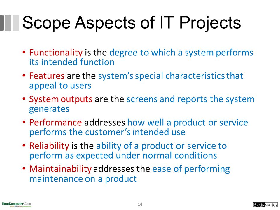 Scope Aspects of IT Projects