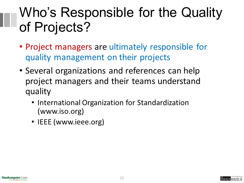 Who's Responsible for the Quality of Projects
