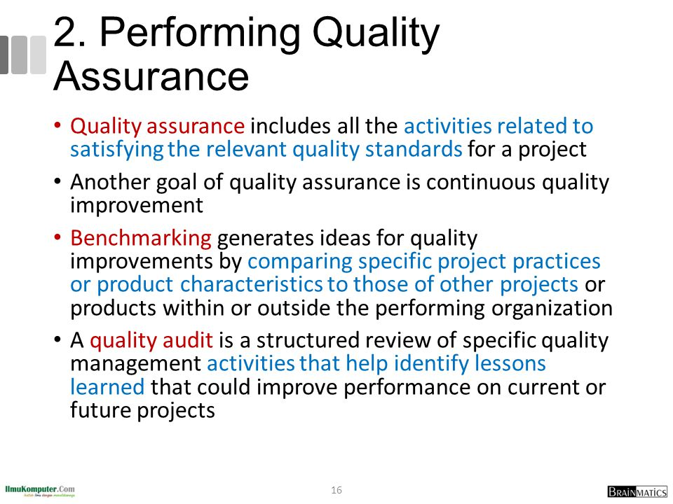 2. Performing Quality Assurance