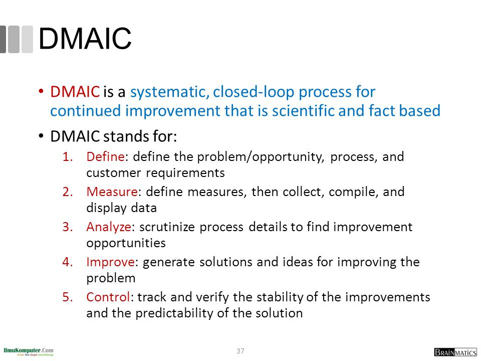 DMAIC DMAIC is a systematic, closed-loop process for continued improvement that is scientific and fact based.