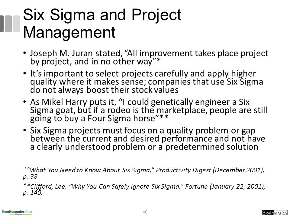 Six Sigma and Project Management