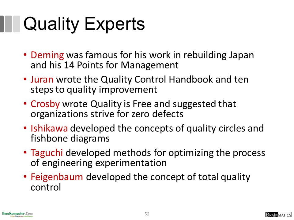 Quality Experts Deming was famous for his work in rebuilding Japan and his 14 Points for Management.