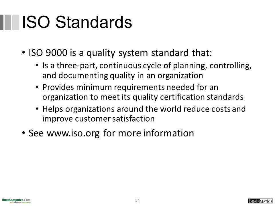 ISO Standards ISO 9000 is a quality system standard that: