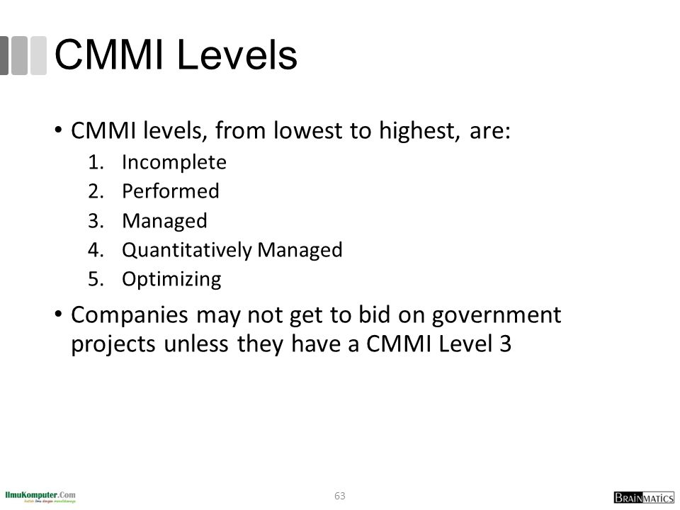 CMMI Levels CMMI levels, from lowest to highest, are: