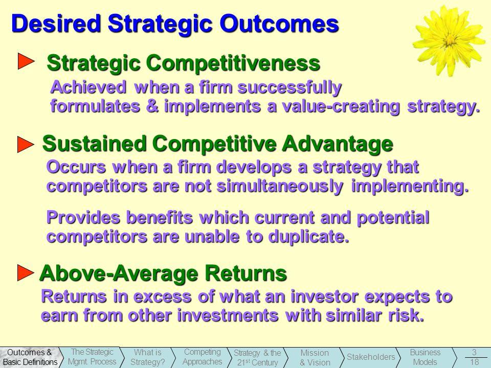 Desired Strategic Outcomes