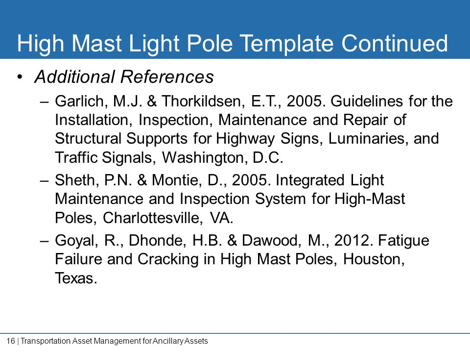 High Mast Light Pole Template Continued
