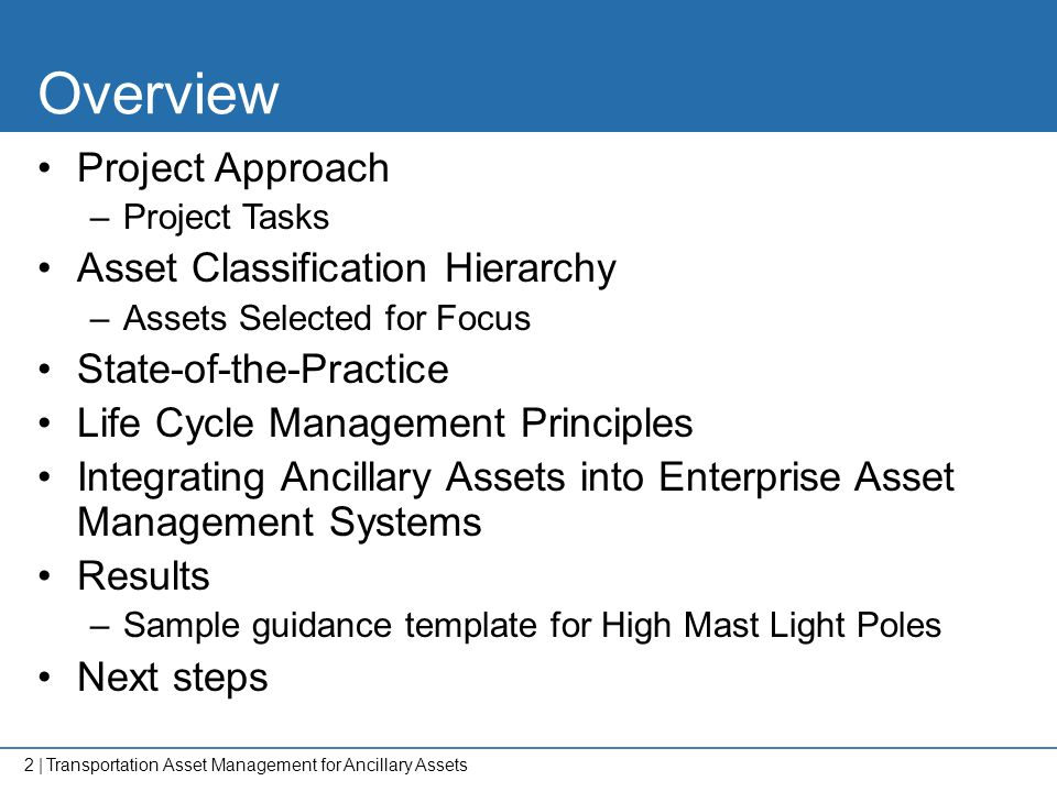 Overview Project Approach Asset Classification Hierarchy