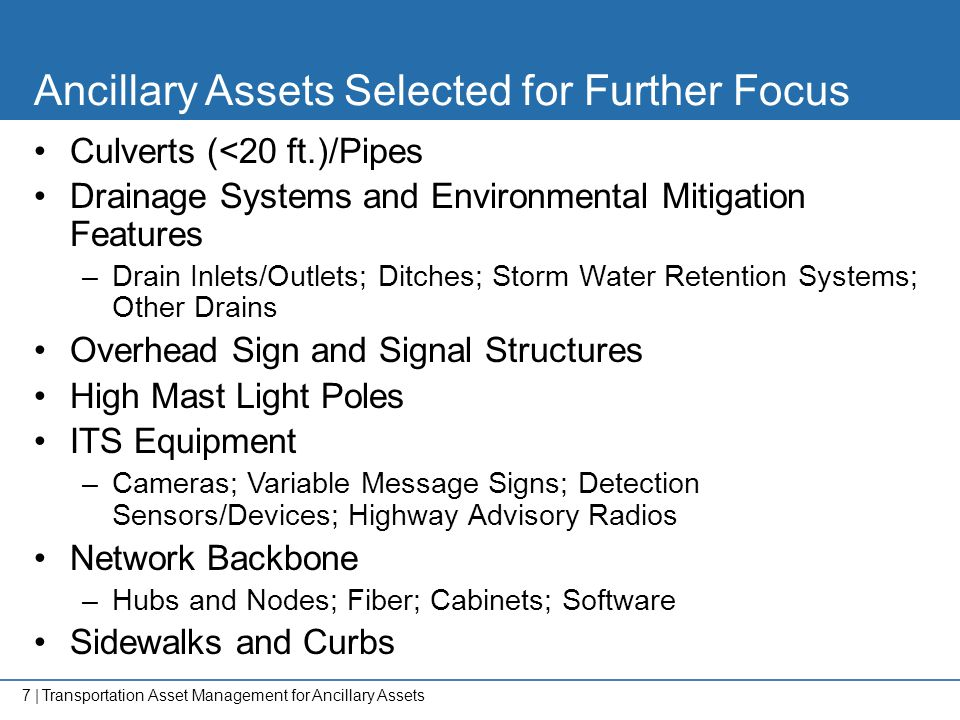 Ancillary Assets Selected for Further Focus