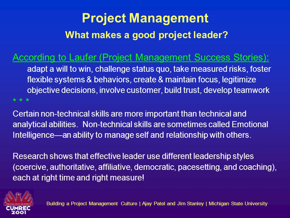Project Management What makes a good project leader