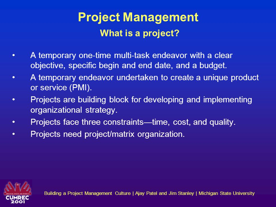 Project Management What is a project