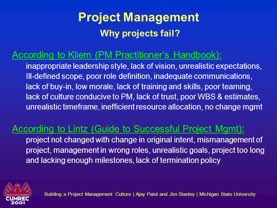 Project Management Why projects fail