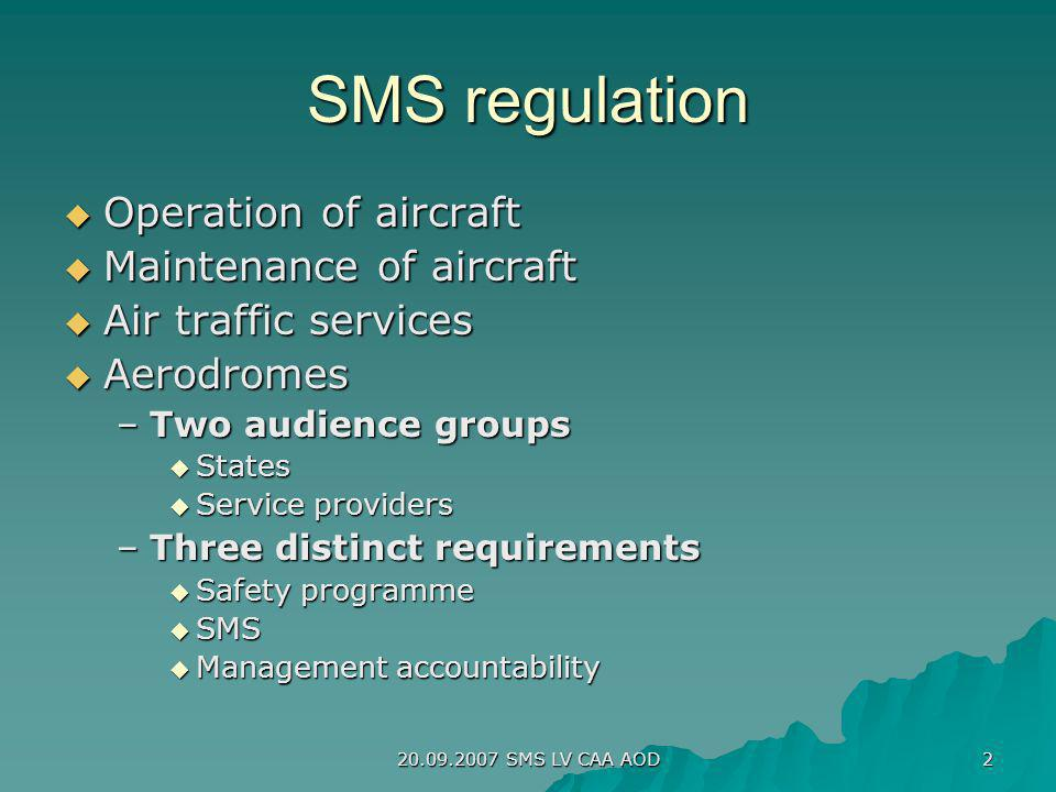 SMS regulation Operation of aircraft Maintenance of aircraft
