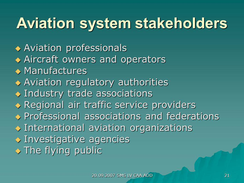 Aviation system stakeholders