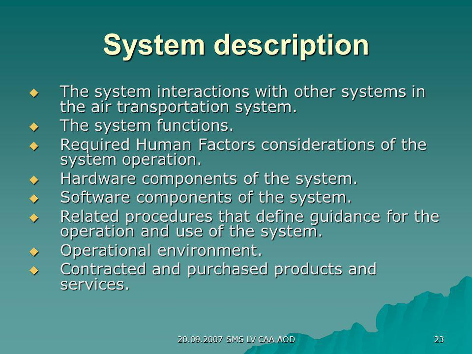 System description The system interactions with other systems in the air transportation system. The system functions.