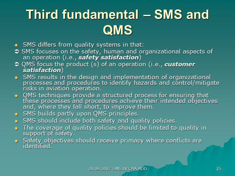 Third fundamental – SMS and QMS
