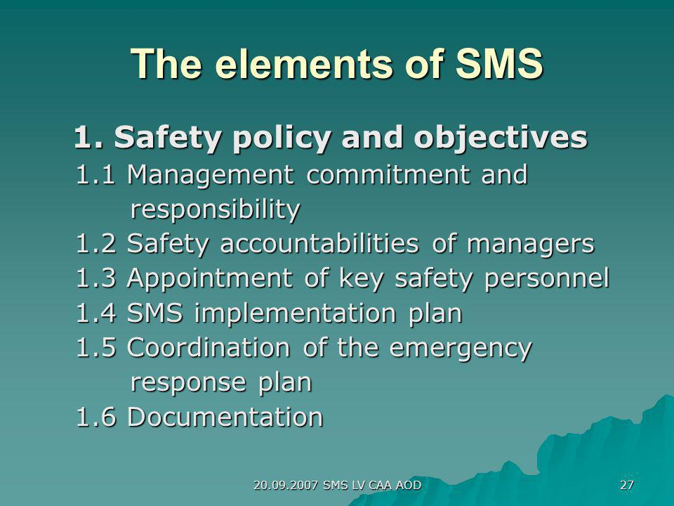 The elements of SMS 1. Safety policy and objectives