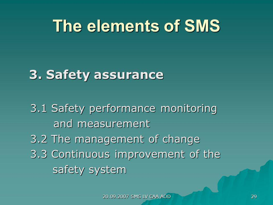 The elements of SMS 3. Safety assurance