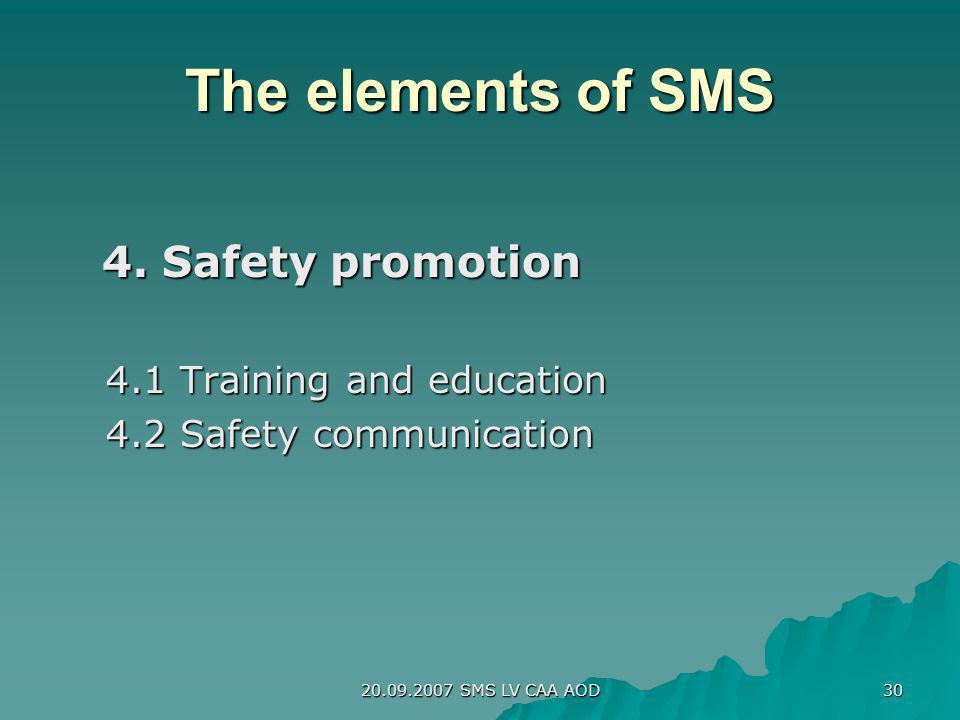 The elements of SMS 4. Safety promotion 4.1 Training and education