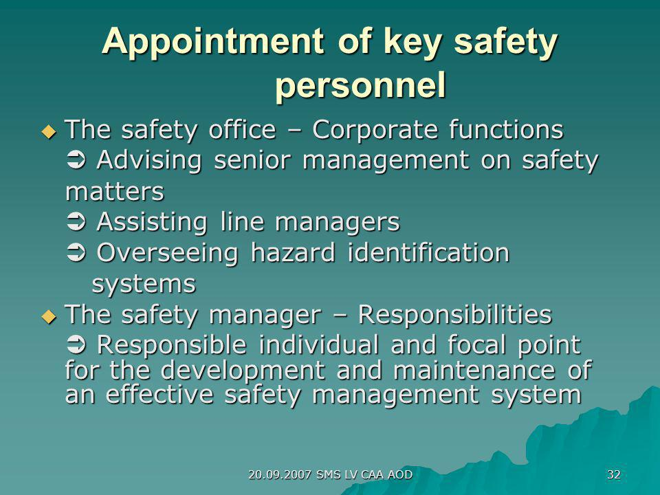 Appointment of key safety personnel