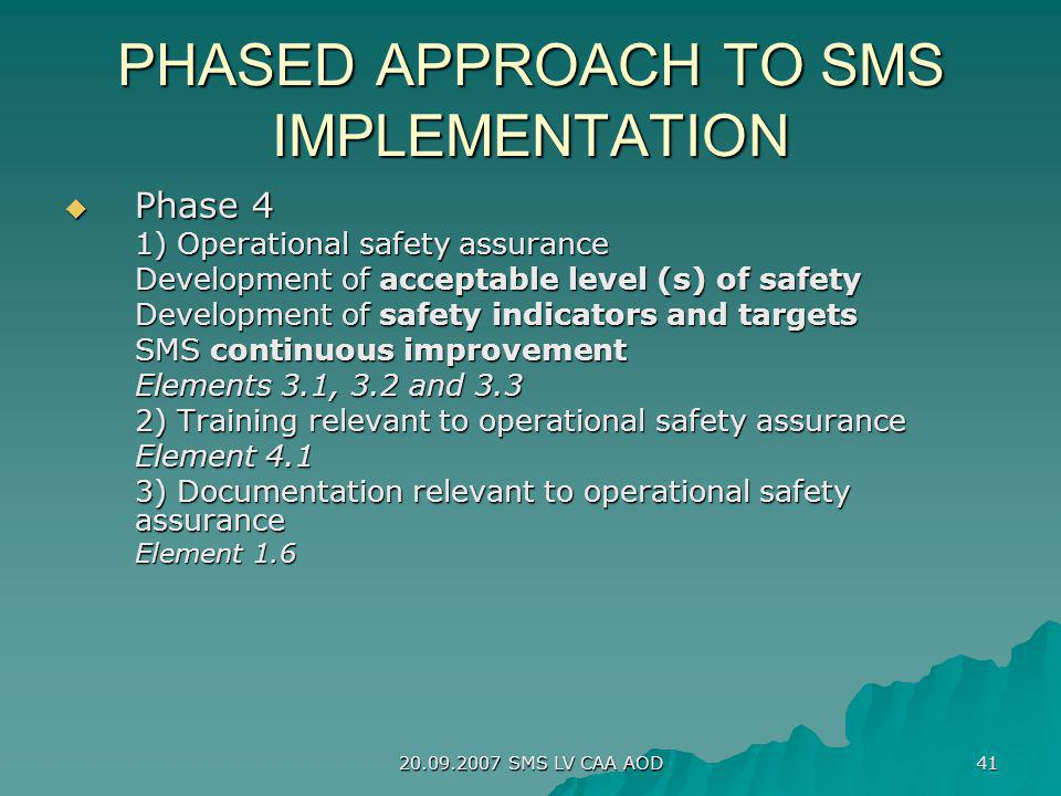 PHASED APPROACH TO SMS IMPLEMENTATION