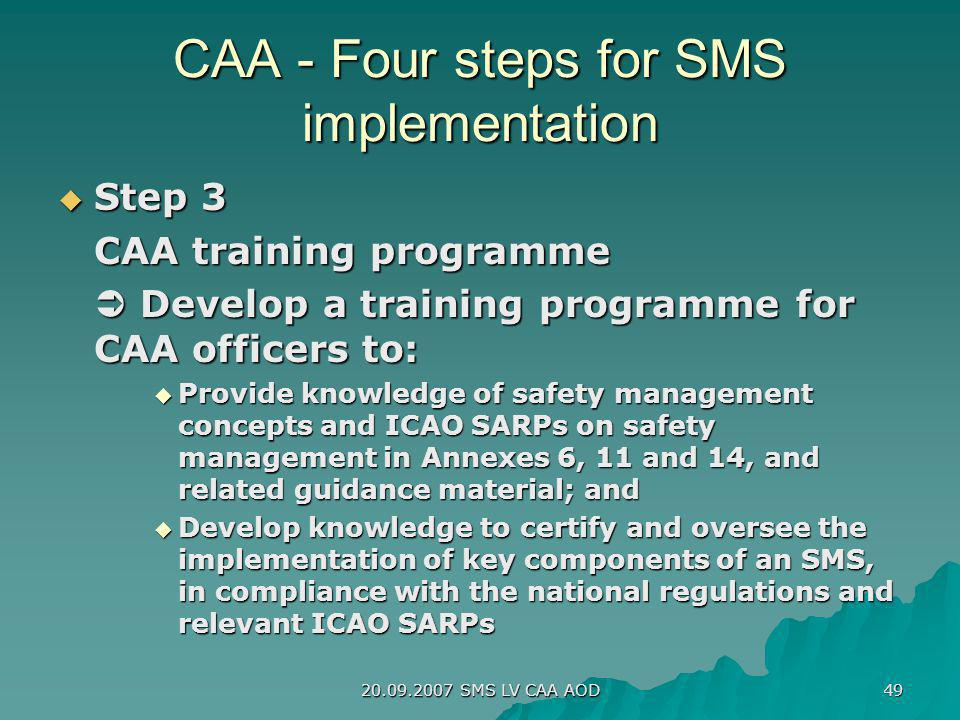 CAA - Four steps for SMS implementation