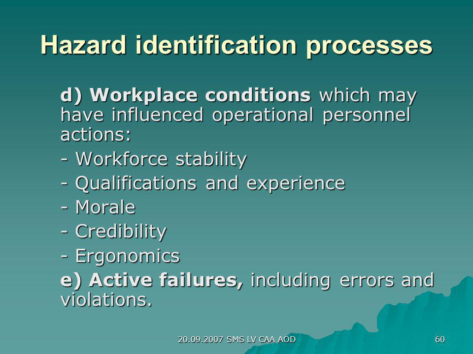 Hazard identification processes