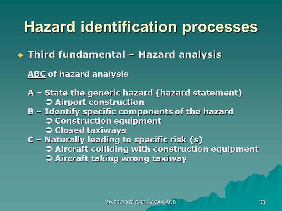 Hazard identification processes