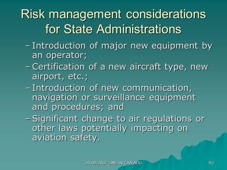 Risk management considerations for State Administrations
