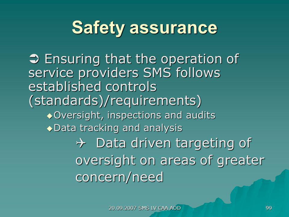 Safety assurance  Ensuring that the operation of service providers SMS follows established controls (standards)/requirements)