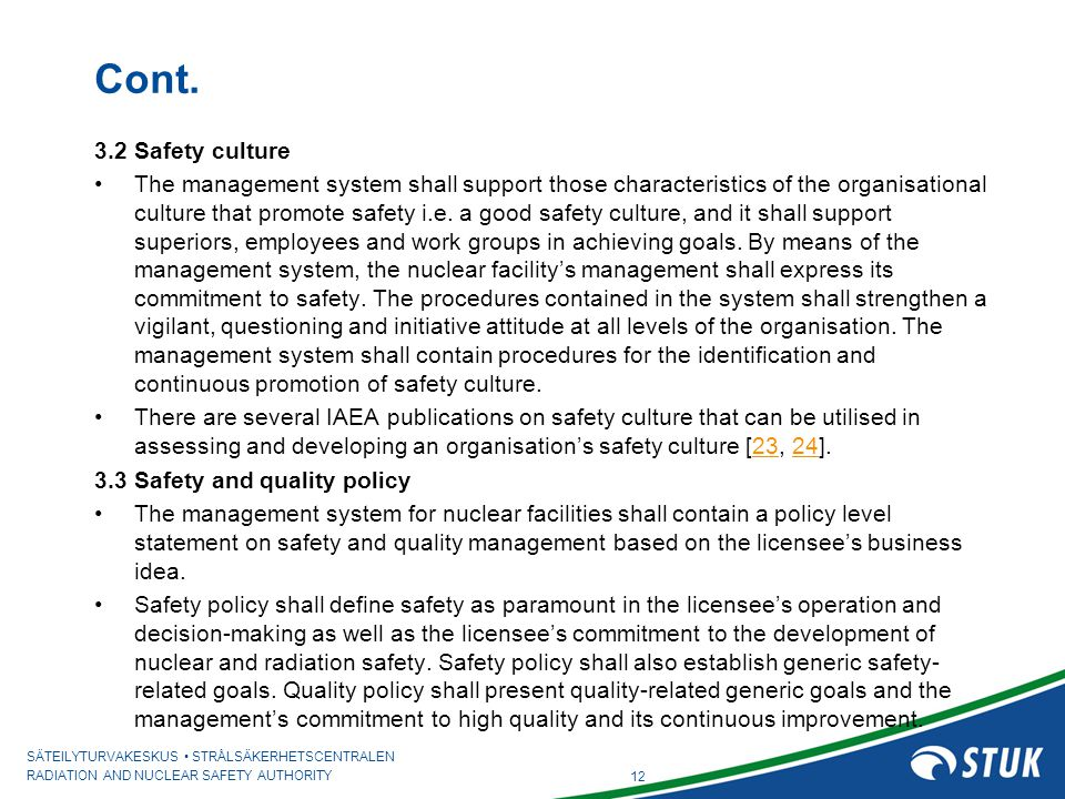 Cont. 3.2 Safety culture.