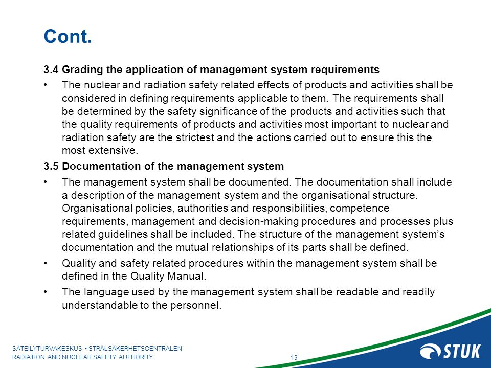 Cont. 3.4 Grading the application of management system requirements