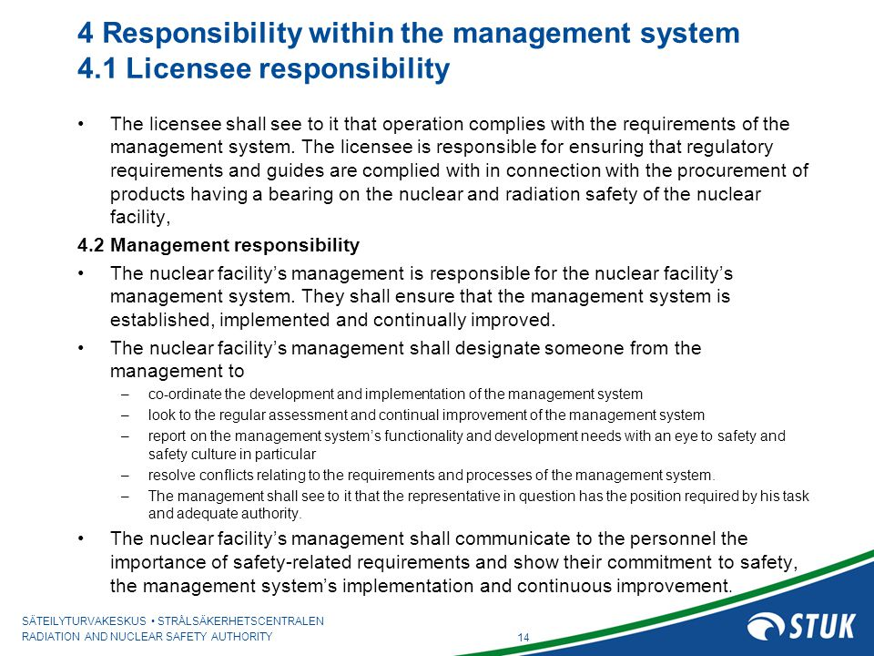 4 Responsibility within the management system 4