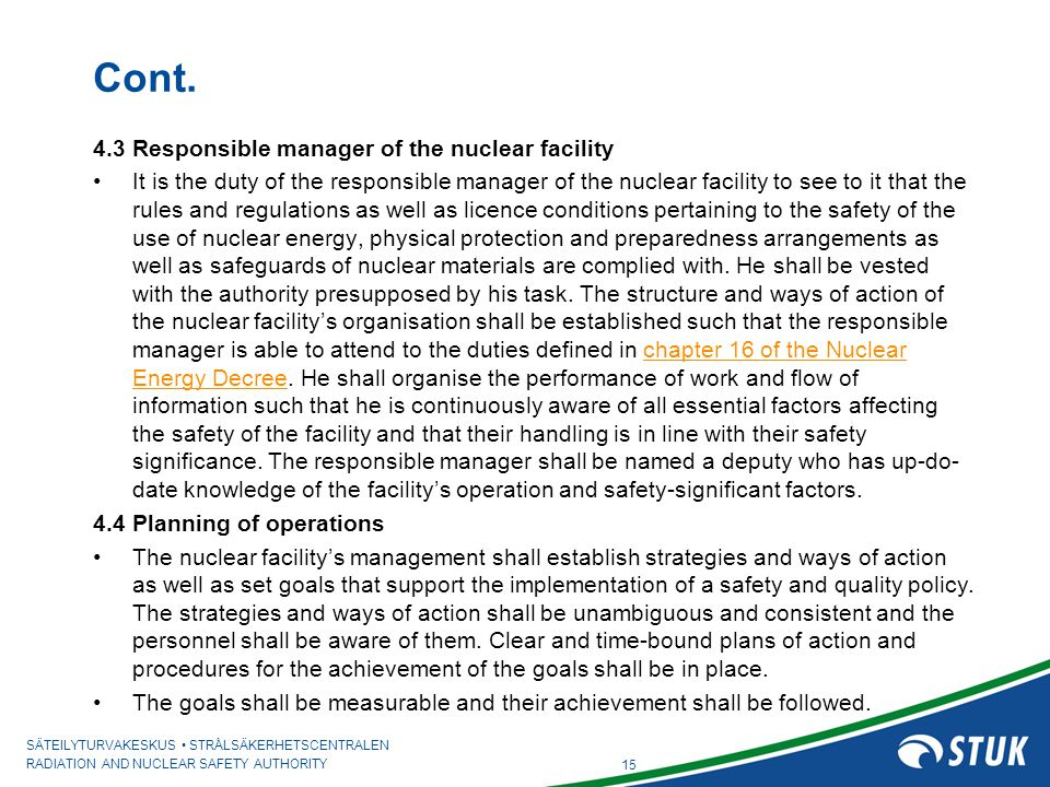 Cont. 4.3 Responsible manager of the nuclear facility