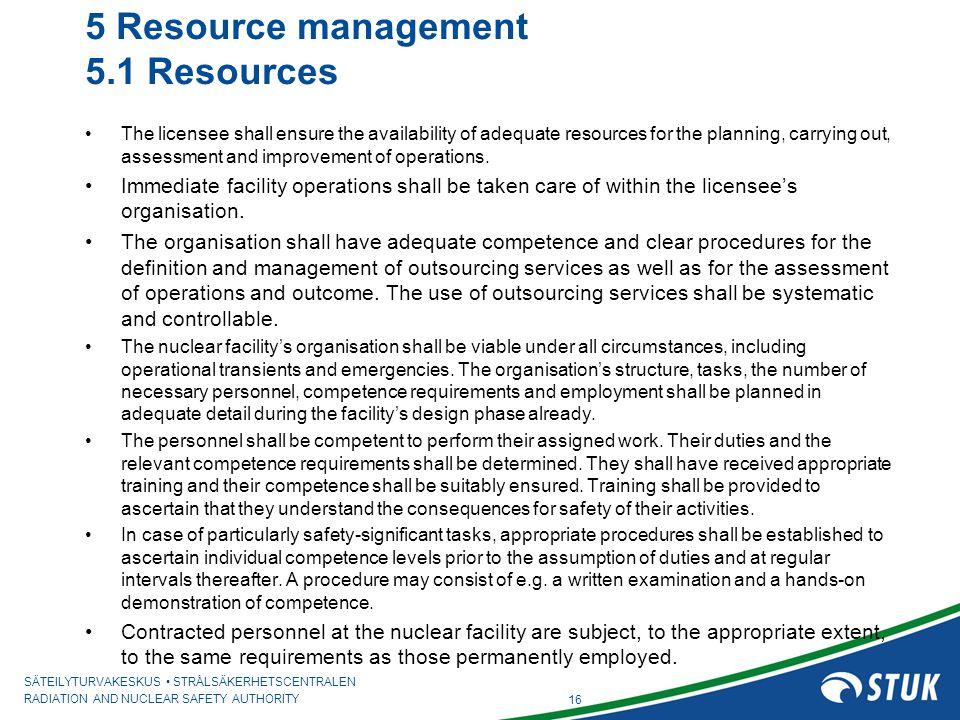 5 Resource management 5.1 Resources