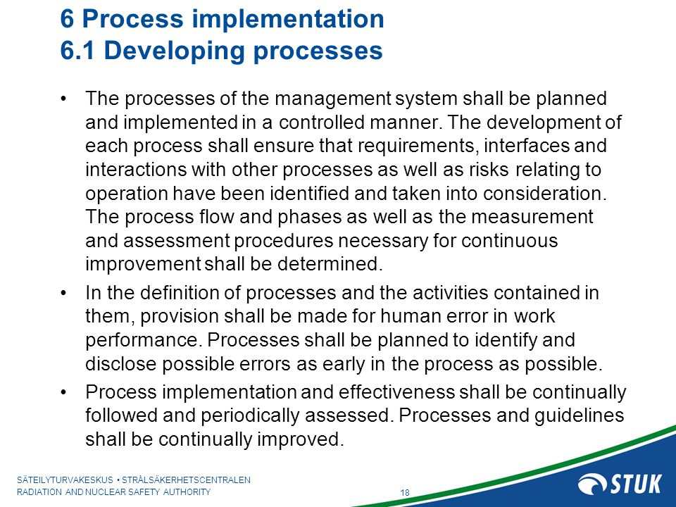 6 Process implementation 6.1 Developing processes