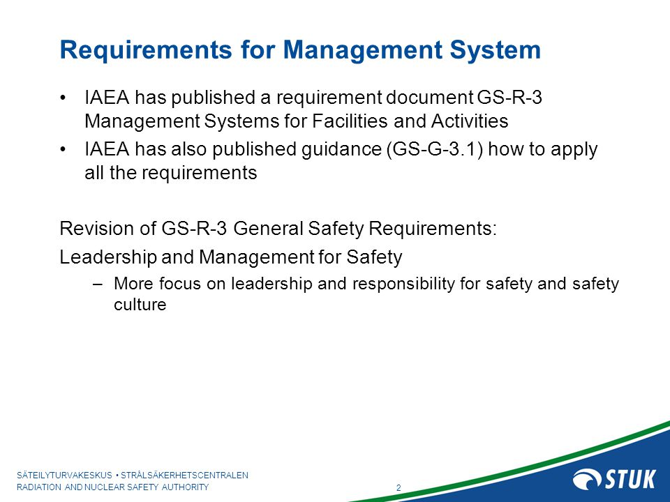 Requirements for Management System