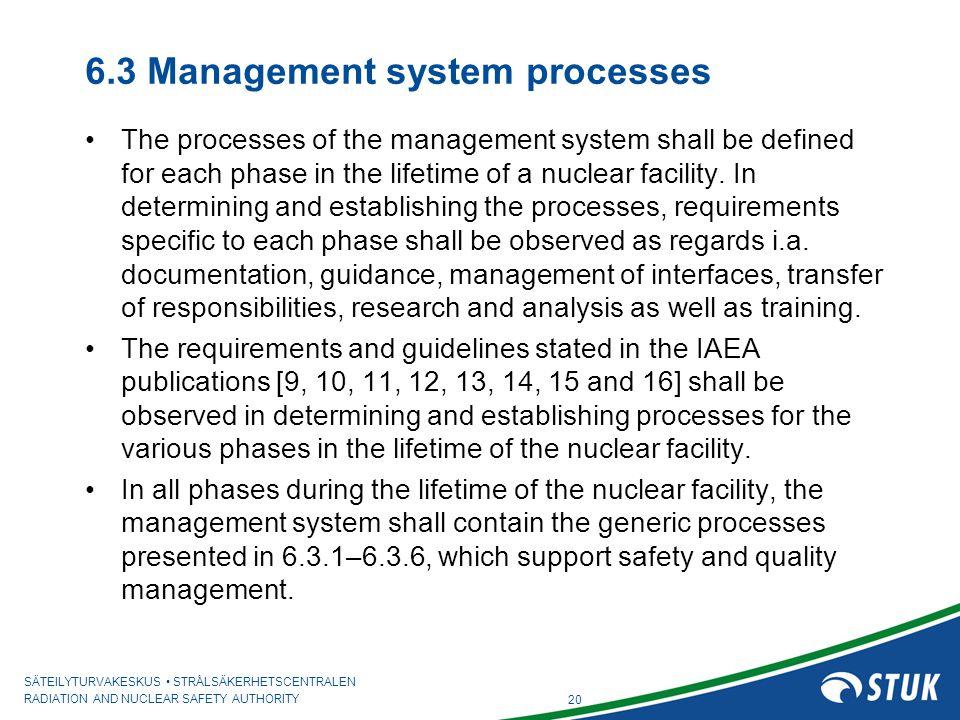 6.3 Management system processes