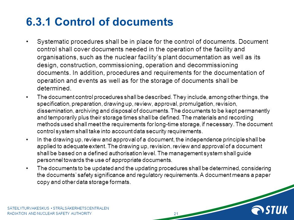6.3.1 Control of documents