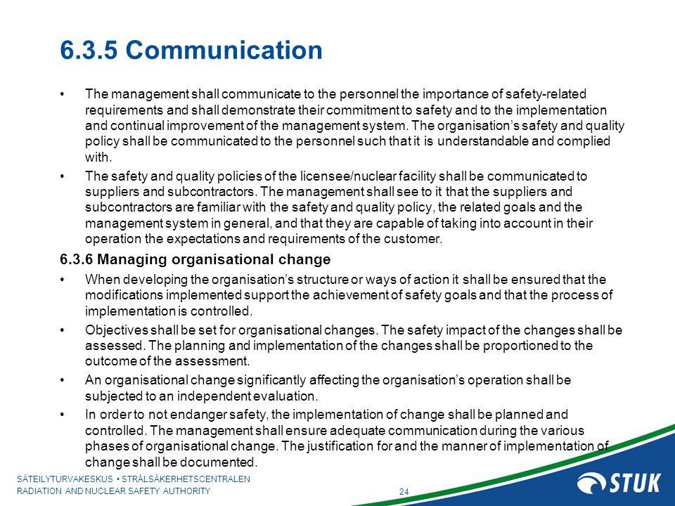 6.3.5 Communication 6.3.6 Managing organisational change