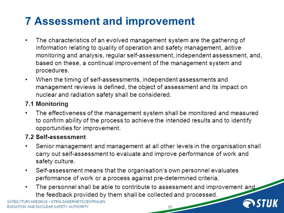7 Assessment and improvement