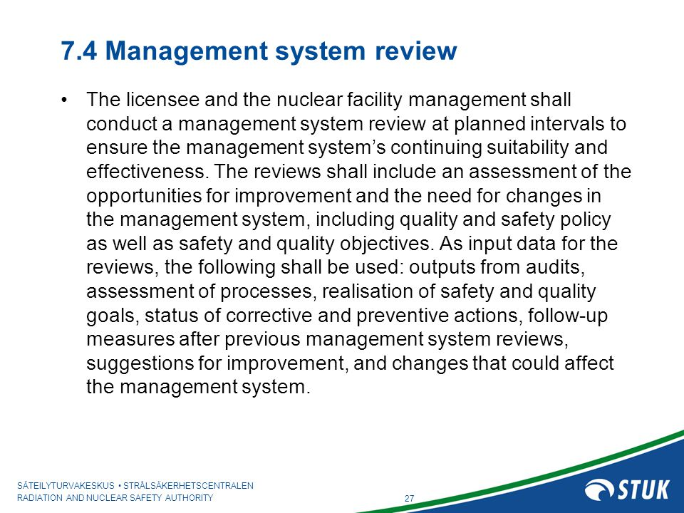 7.4 Management system review