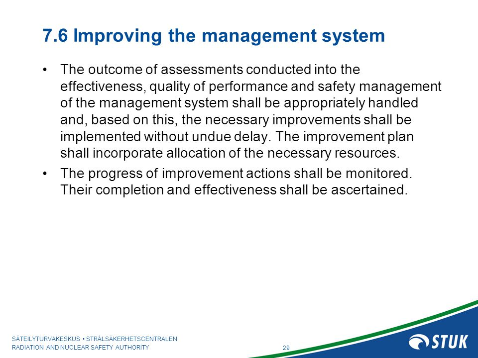 7.6 Improving the management system