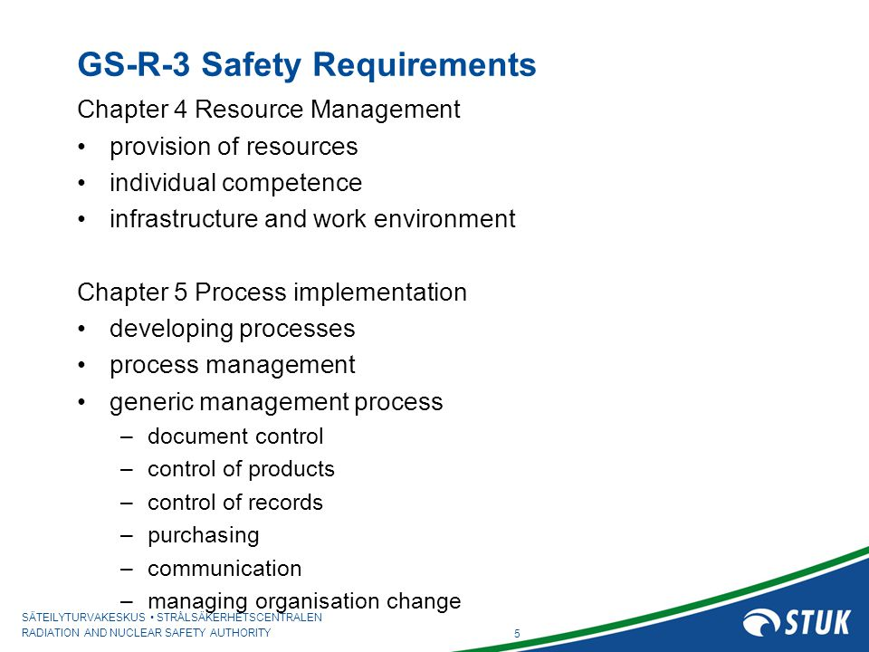 GS-R-3 Safety Requirements